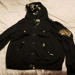 Baby Phat Polyester Button Up Hoodie